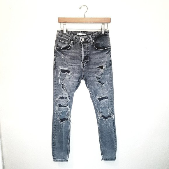 Zara Distressed Grey Black Denim Skinny High Waisted Mom Jeans Button Fly